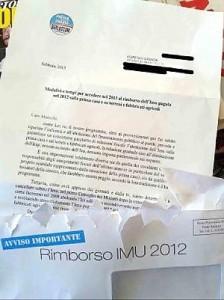 lettera rimborso imu di Berlusconi, elezioni 2013