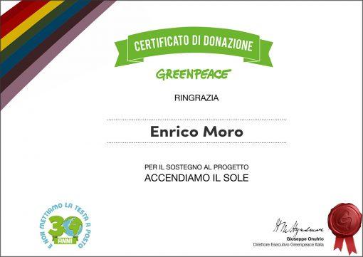 Enrico Moro, certificato di donazione Greenpeace